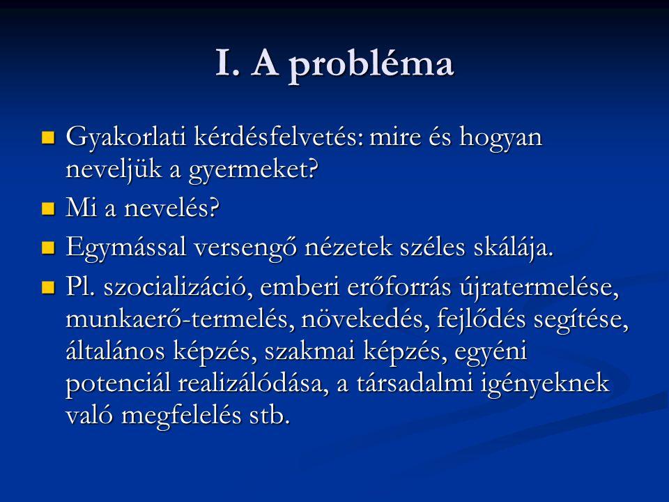 I. A probléma Gyakorlati kérdésfelvetés: mire és hogyan neveljük a gyermeket? Gyakorlati kérdésfelvetés: mire és hogyan neveljük a gyermeket? Mi a nev