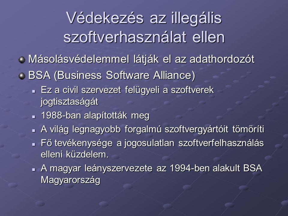 Védekezés az illegális szoftverhasználat ellen Másolásvédelemmel látják el az adathordozót BSA (Business Software Alliance) Ez a civil szervezet felüg