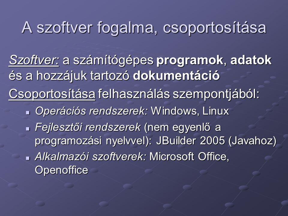 A szoftver fogalma, csoportosítása Szoftver: a számítógépes programok, adatok és a hozzájuk tartozó dokumentáció Csoportosítása felhasználás szempontj
