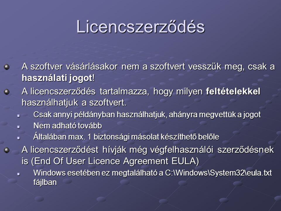 Licencszerződés A szoftver vásárlásakor nem a szoftvert vesszük meg, csak a használati jogot! A licencszerződés tartalmazza, hogy milyen feltételekkel