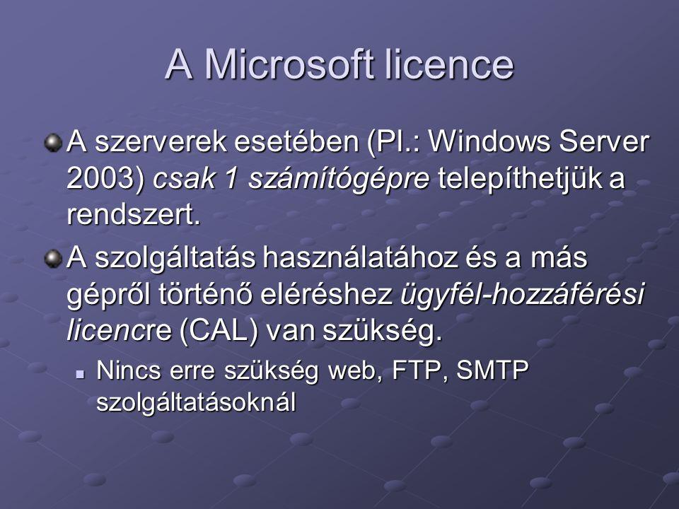 A Microsoft licence A szerverek esetében (Pl.: Windows Server 2003) csak 1 számítógépre telepíthetjük a rendszert. A szolgáltatás használatához és a m
