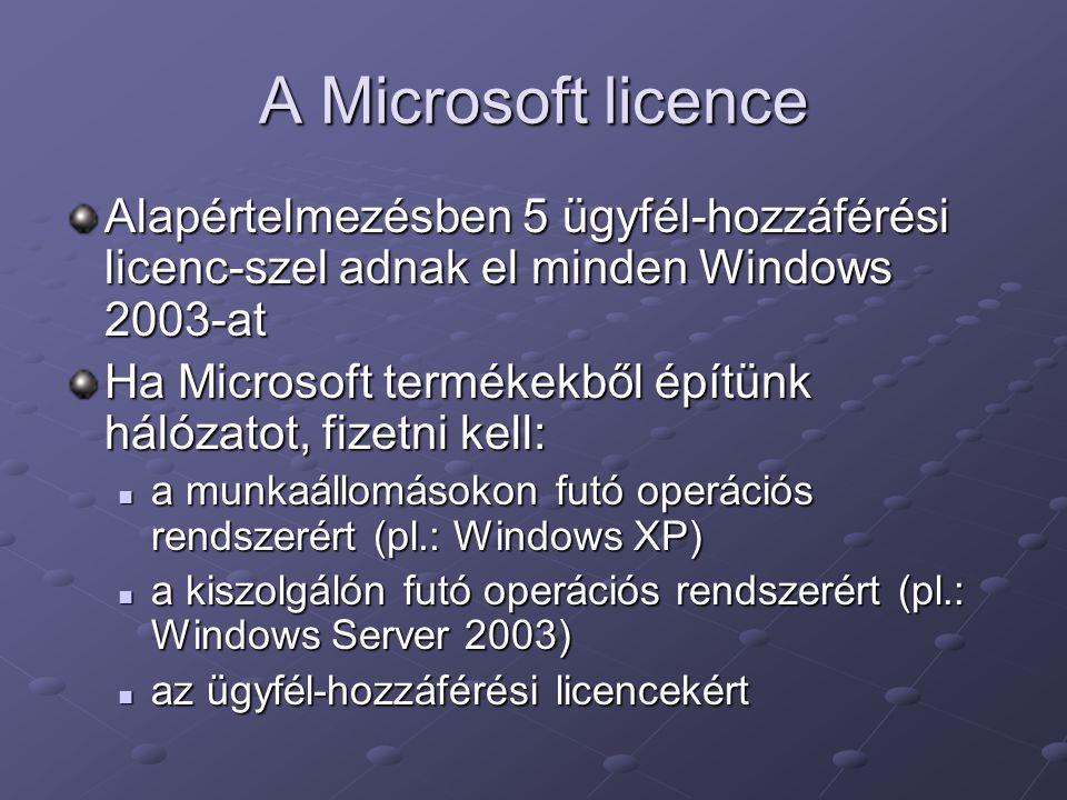 A Microsoft licence Alapértelmezésben 5 ügyfél-hozzáférési licenc-szel adnak el minden Windows 2003-at Ha Microsoft termékekből építünk hálózatot, fiz