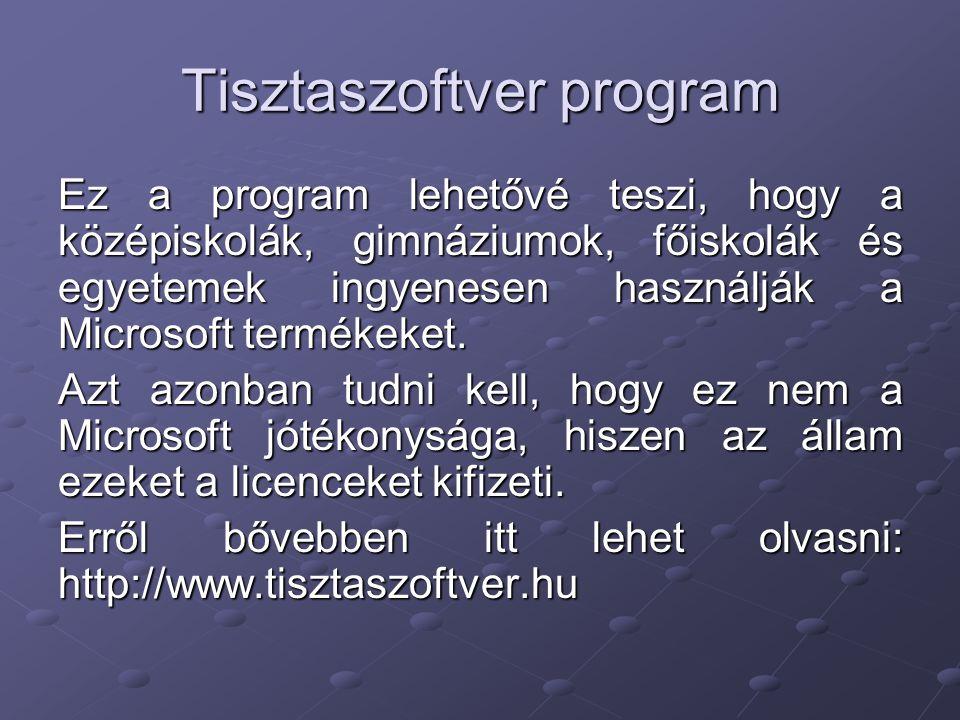 Tisztaszoftver program Ez a program lehetővé teszi, hogy a középiskolák, gimnáziumok, főiskolák és egyetemek ingyenesen használják a Microsoft terméke
