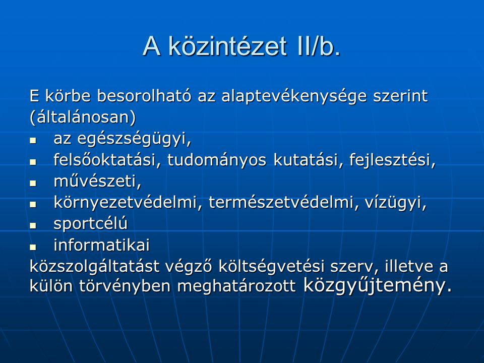 A közintézet II/b. E körbe besorolható az alaptevékenysége szerint (általánosan) az egészségügyi, az egészségügyi, felsőoktatási, tudományos kutatási,