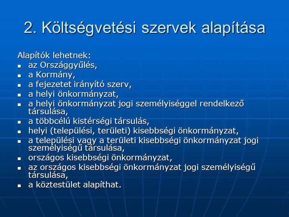 2. Költségvetési szervek alapítása Alapítók lehetnek: az Országgyűlés, az Országgyűlés, a Kormány, a Kormány, a fejezetet irányító szerv, a fejezetet