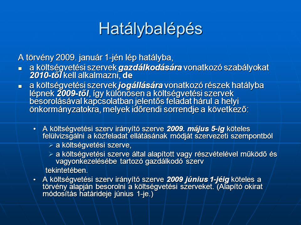 Hatálybalépés A törvény 2009. január 1-jén lép hatályba, a költségvetési szervek gazdálkodására vonatkozó szabályokat 2010-től kell alkalmazni, de a k
