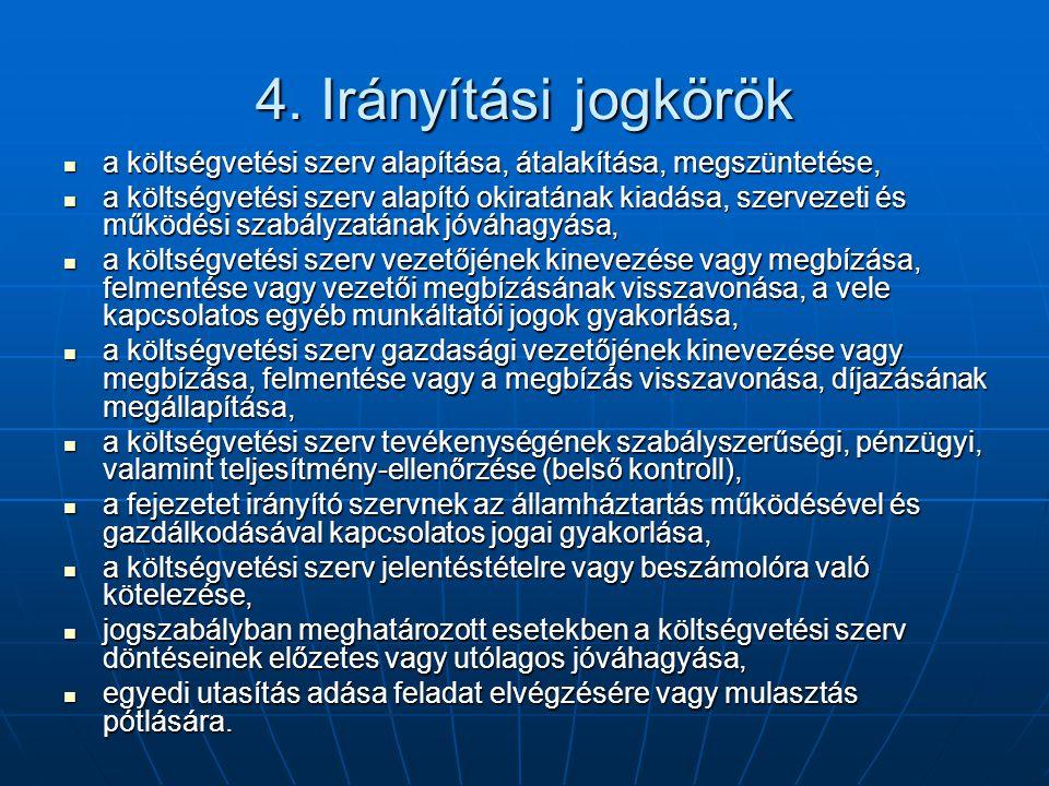 4. Irányítási jogkörök a költségvetési szerv alapítása, átalakítása, megszüntetése, a költségvetési szerv alapítása, átalakítása, megszüntetése, a köl