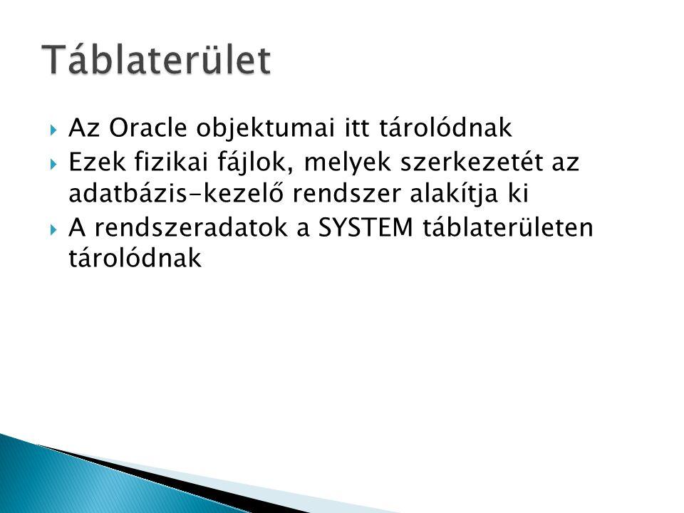  Az Oracle objektumai itt tárolódnak  Ezek fizikai fájlok, melyek szerkezetét az adatbázis-kezelő rendszer alakítja ki  A rendszeradatok a SYSTEM táblaterületen tárolódnak