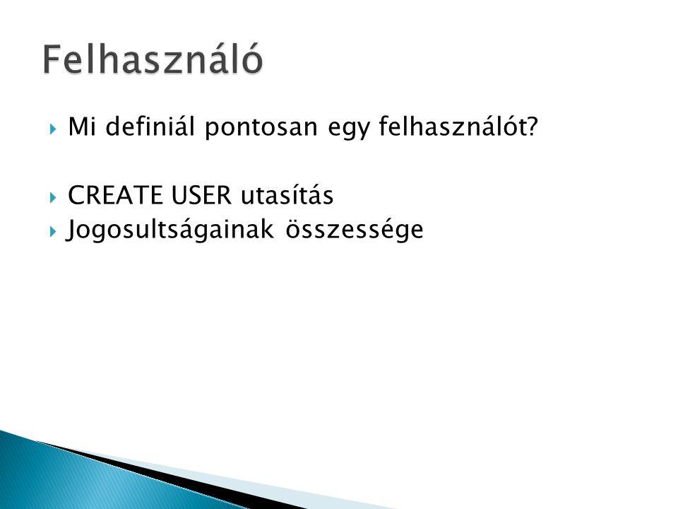  Mi definiál pontosan egy felhasználót?  CREATE USER utasítás  Jogosultságainak összessége