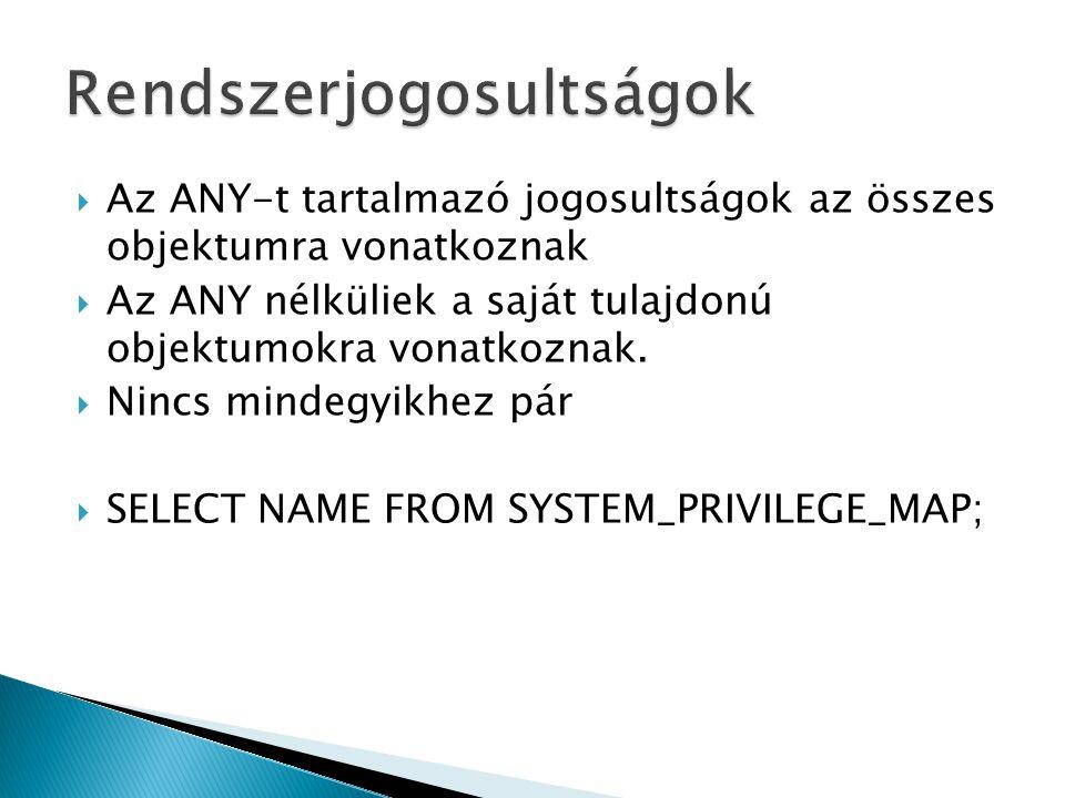 GRANT kulcsszóval történi GRANT [jogosultság/szerepkör] TO [felhasználó/szerepkör/public] [WITH ADMIN OPTION] Public!!.