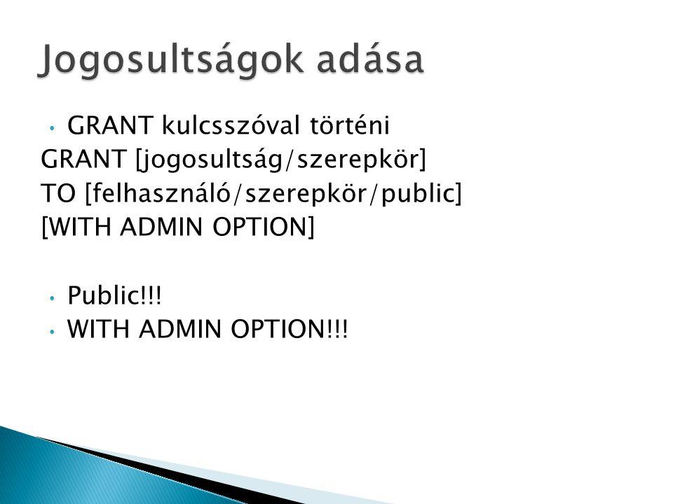  Hozzon létre egy új felhasználót nebulo néven asdfasdf jelszóval, majd lássa el a szükséges jogosultságokkal, hogy létrehozhasson új táblákat.