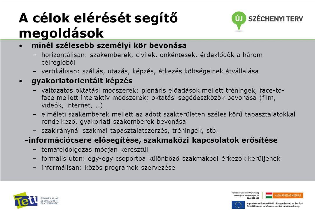 A célok elérését segítő megoldások minél szélesebb személyi kör bevonása –horizontálisan: szakemberek, civilek, önkéntesek, érdeklődők a három célrégi