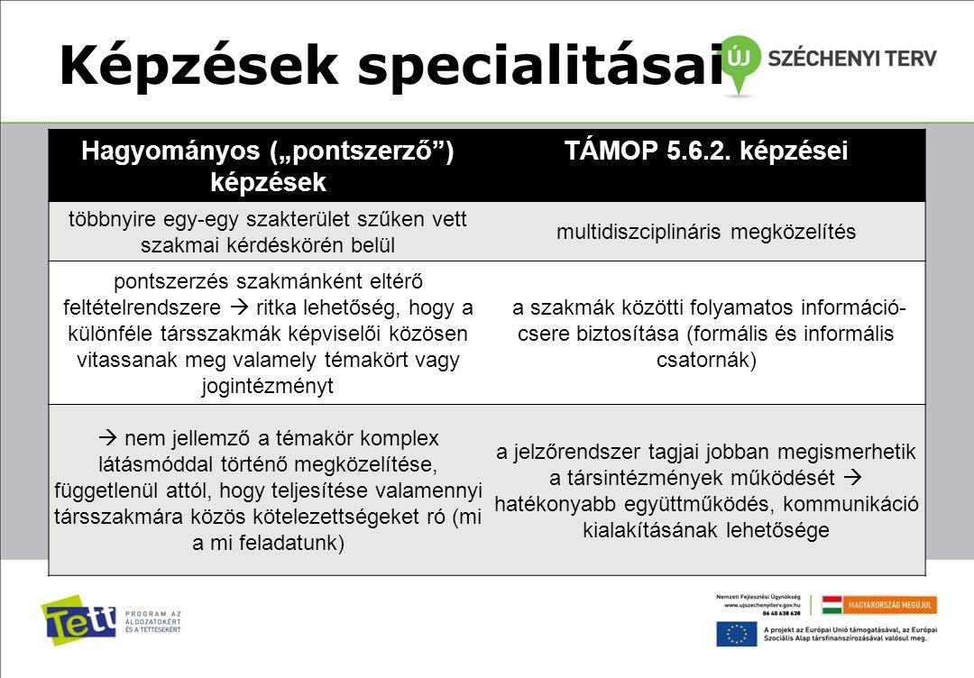 """Képzések specialitásai Hagyományos (""""pontszerző"""") képzések TÁMOP 5.6.2. képzései többnyire egy-egy szakterület szűken vett szakmai kérdéskörén belül m"""