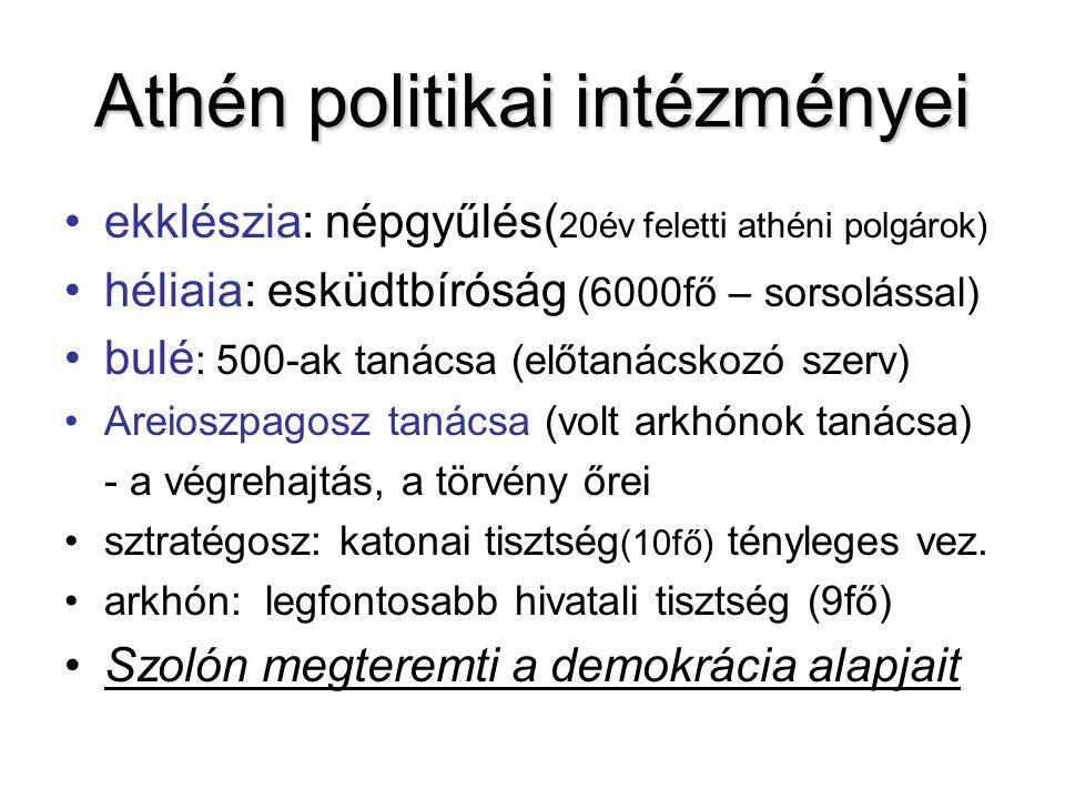 Athén politikai intézményei ekklészia: népgyűlés( 20év feletti athéni polgárok) héliaia: esküdtbíróság (6000fő – sorsolással) bulé : 500-ak tanácsa (e