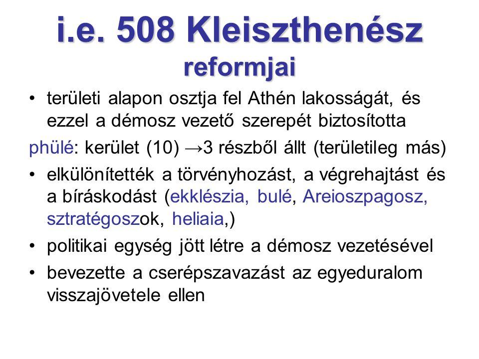 i.e. 508 Kleiszthenész reformjai területi alapon osztja fel Athén lakosságát, és ezzel a démosz vezető szerepét biztosította phülé: kerület (10) →3 ré
