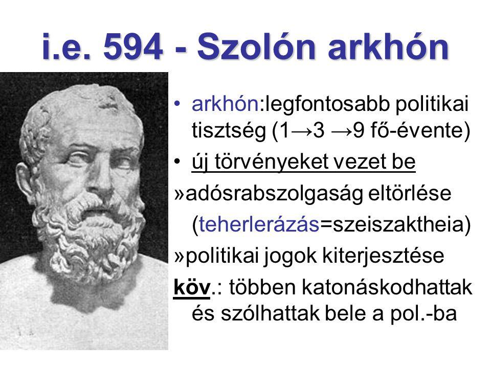 i.e. 594 - Szolón arkhón arkhón:legfontosabb politikai tisztség (1→3 →9 fő-évente) új törvényeket vezet be »adósrabszolgaság eltörlése (teherlerázás=s