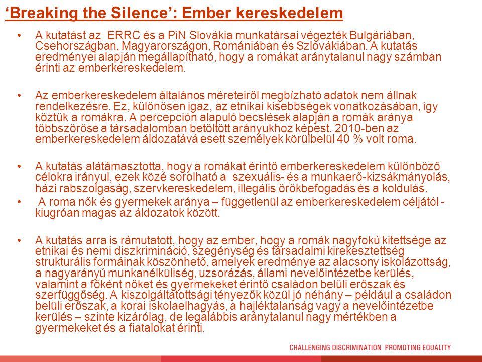 'Breaking the Silence': Ember kereskedelem A kutatást az ERRC és a PiN Slovákia munkatársai végezték Bulgáriában, Csehországban, Magyarországon, Román