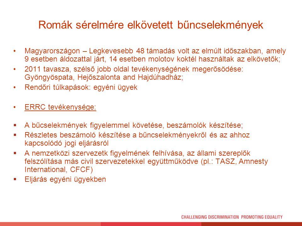 Romák sérelmére elkövetett bűncselekmények Magyarországon – Legkevesebb 48 támadás volt az elmúlt időszakban, amely 9 esetben áldozattal járt, 14 eset
