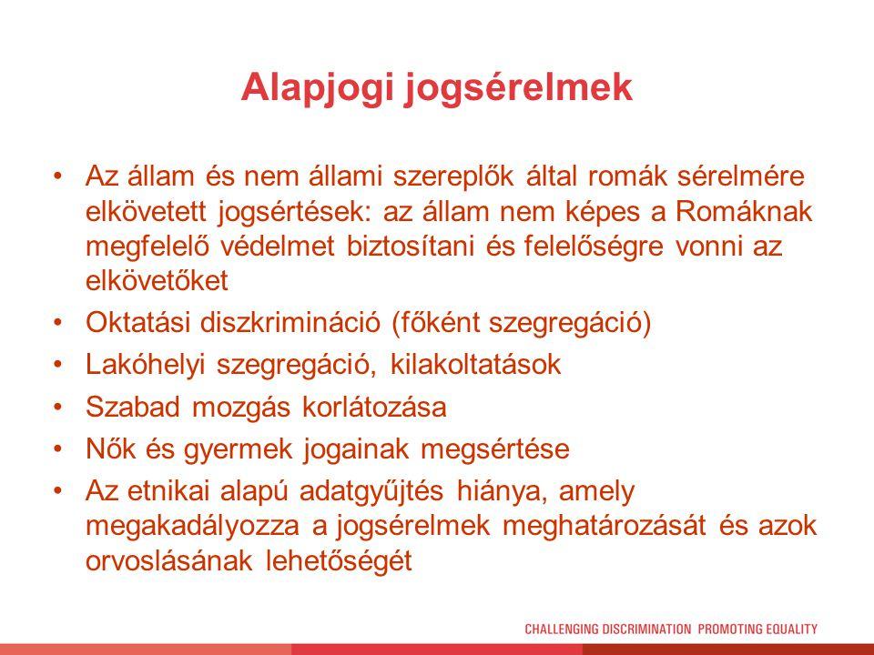 Alapjogi jogsérelmek Az állam és nem állami szereplők által romák sérelmére elkövetett jogsértések: az állam nem képes a Romáknak megfelelő védelmet b
