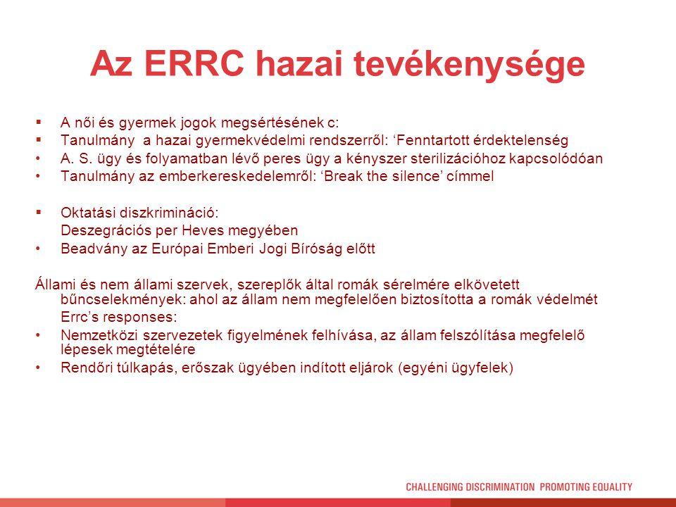 Az ERRC hazai tevékenysége  A női és gyermek jogok megsértésének c:  Tanulmány a hazai gyermekvédelmi rendszerről: 'Fenntartott érdektelenség A. S.