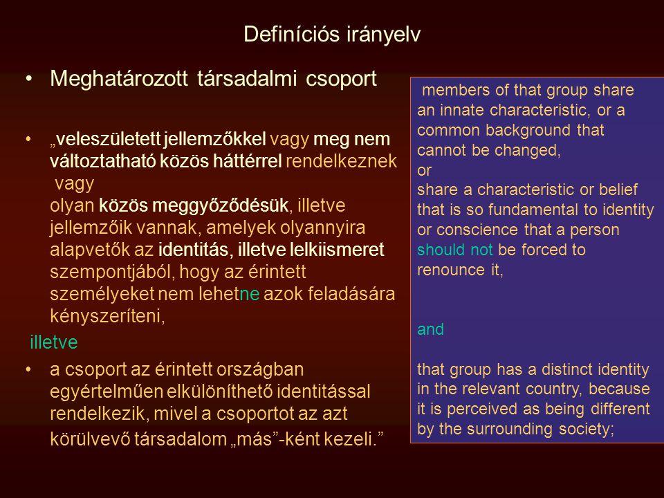 """Definíciós irányelv Meghatározott társadalmi csoport """"veleszületett jellemzőkkel vagy meg nem változtatható közös háttérrel rendelkeznek vagy olyan kö"""