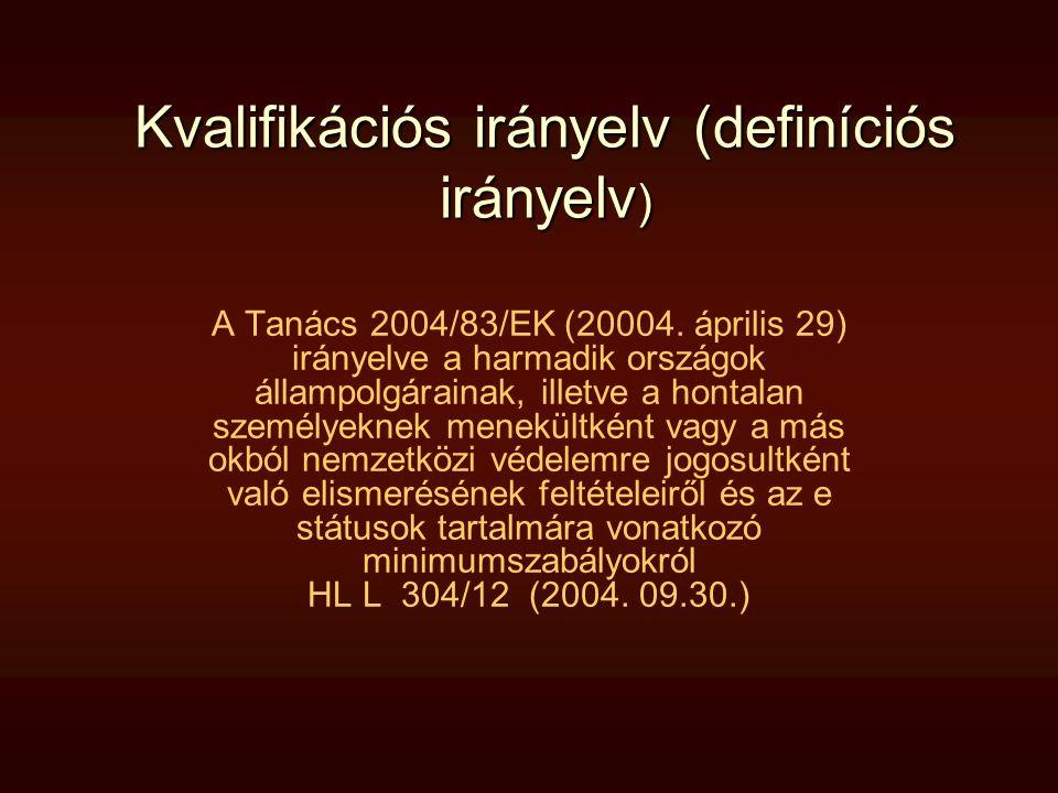 Kvalifikációs irányelv (definíciós irányelv ) A Tanács 2004/83/EK (20004. április 29) irányelve a harmadik országok állampolgárainak, illetve a hontal