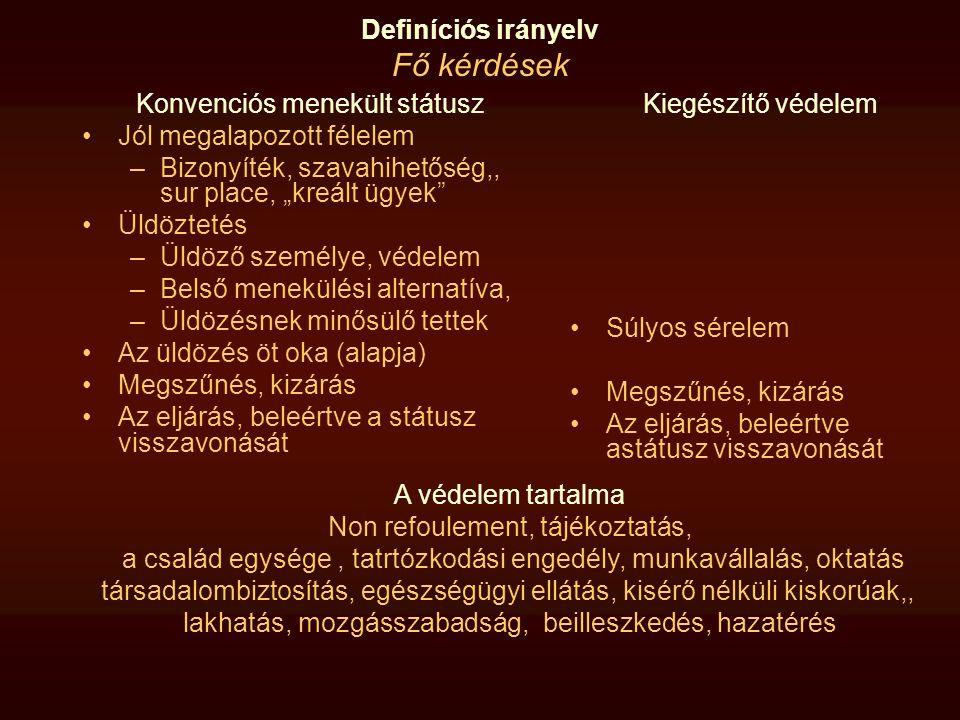 Definíciós irányelv Eljárás, beleértve a visszavonást A tagállam köteles megadni a státuszt, ha a kérelmező megfelel a definíciónak (13 §) Kötelező kizárás: A tagállamok visszavonják, illetve megszüntetik...