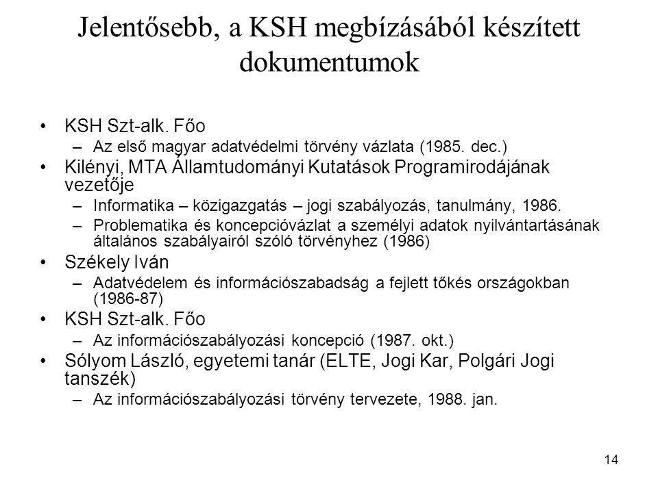 14 Jelentősebb, a KSH megbízásából készített dokumentumok KSH Szt-alk. Főo –Az első magyar adatvédelmi törvény vázlata (1985. dec.) Kilényi, MTA Állam
