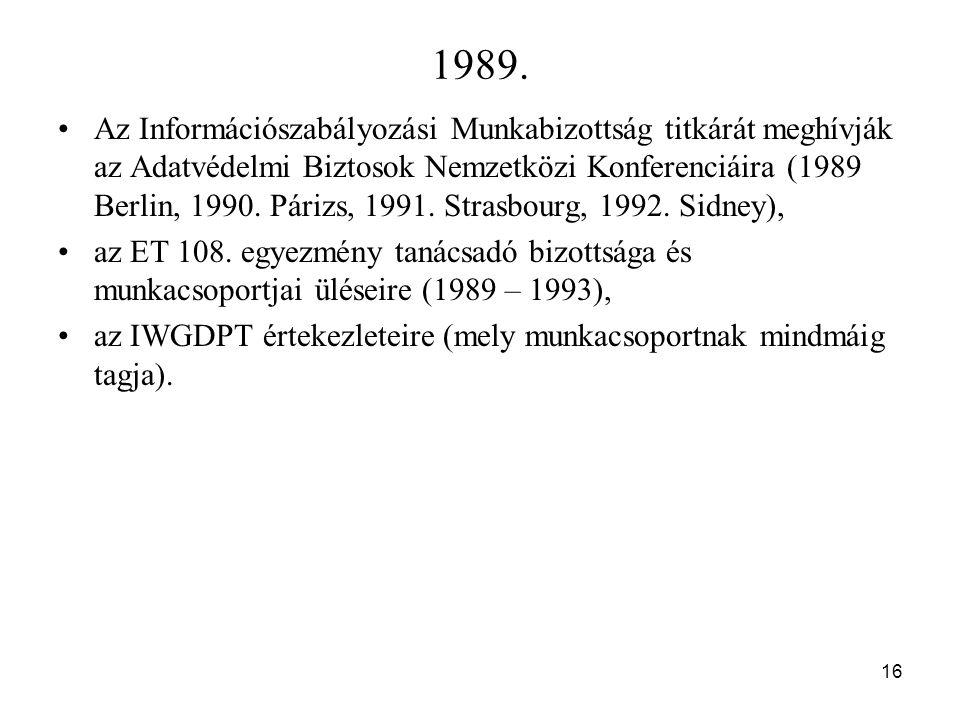 16 1989. Az Információszabályozási Munkabizottság titkárát meghívják az Adatvédelmi Biztosok Nemzetközi Konferenciáira (1989 Berlin, 1990. Párizs, 199