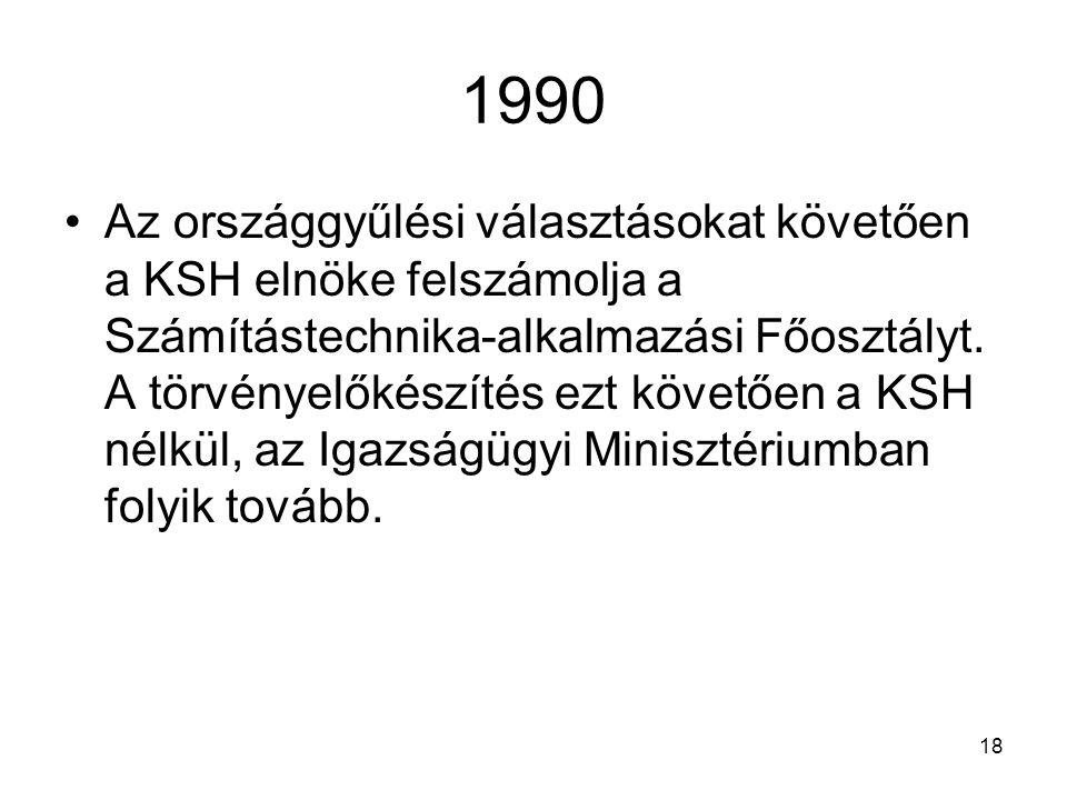 18 1990 Az országgyűlési választásokat követően a KSH elnöke felszámolja a Számítástechnika-alkalmazási Főosztályt. A törvényelőkészítés ezt követően