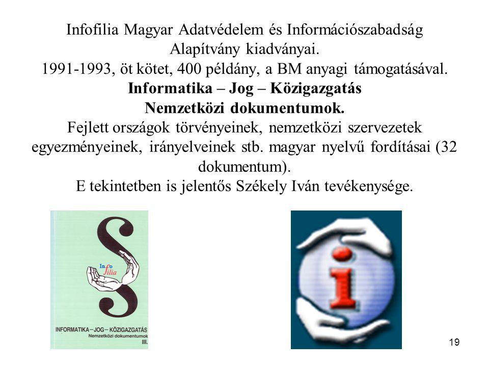 19 Infofilia Magyar Adatvédelem és Információszabadság Alapítvány kiadványai. 1991-1993, öt kötet, 400 példány, a BM anyagi támogatásával. Informatika
