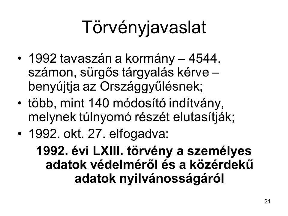 21 Törvényjavaslat 1992 tavaszán a kormány – 4544. számon, sürgős tárgyalás kérve – benyújtja az Országgyűlésnek; több, mint 140 módosító indítvány, m
