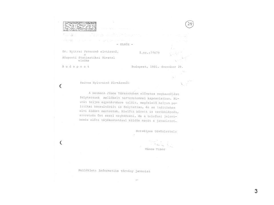 14 Jelentősebb, a KSH megbízásából készített dokumentumok KSH Szt-alk.