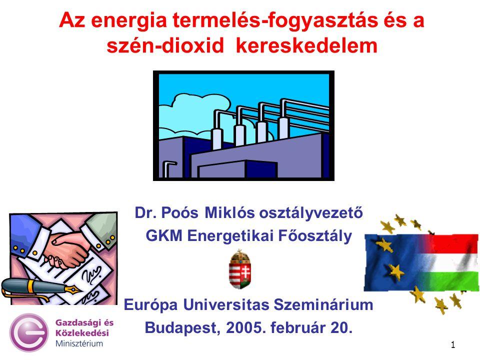 1 Az energia termelés-fogyasztás és a szén-dioxid kereskedelem Dr. Poós Miklós osztályvezető GKM Energetikai Főosztály Európa Universitas Szeminárium