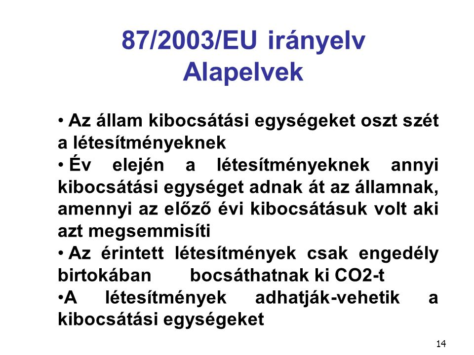 14 87/2003/EU irányelv Alapelvek Az állam kibocsátási egységeket oszt szét a létesítményeknek Év elején a létesítményeknek annyi kibocsátási egységet