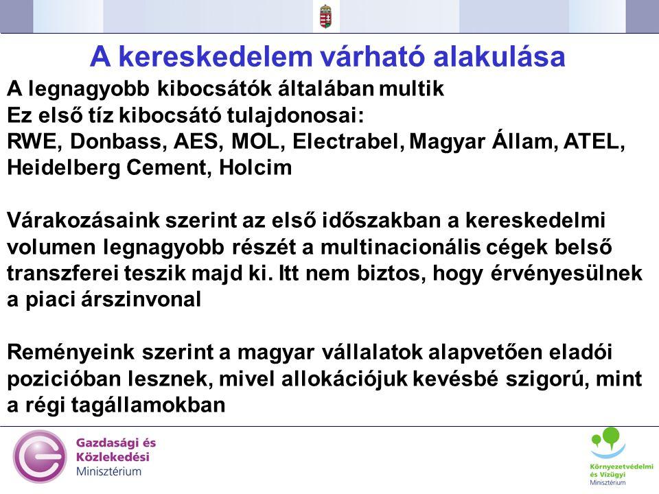 39 A legnagyobb kibocsátók általában multik Ez első tíz kibocsátó tulajdonosai: RWE, Donbass, AES, MOL, Electrabel, Magyar Állam, ATEL, Heidelberg Cem