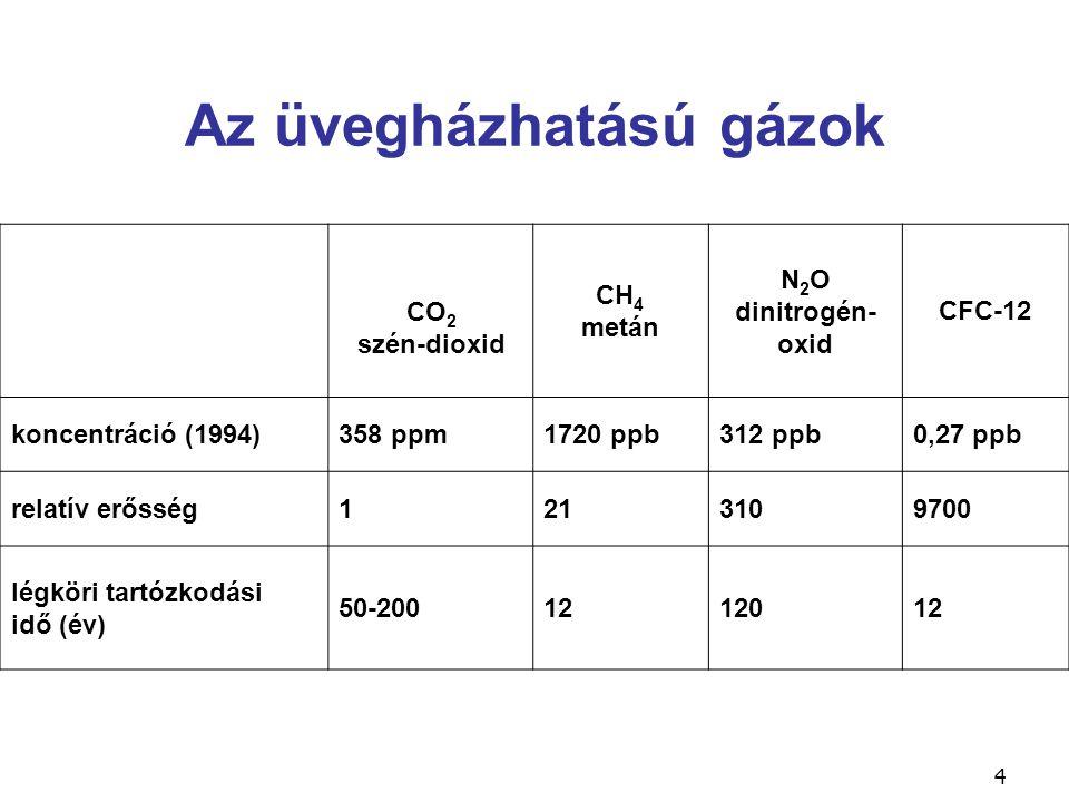 4 Az üvegházhatású gázok CO 2 szén-dioxid CH 4 metán N 2 O dinitrogén- oxid CFC-12 koncentráció (1994)358 ppm1720 ppb312 ppb0,27 ppb relatív erősség12