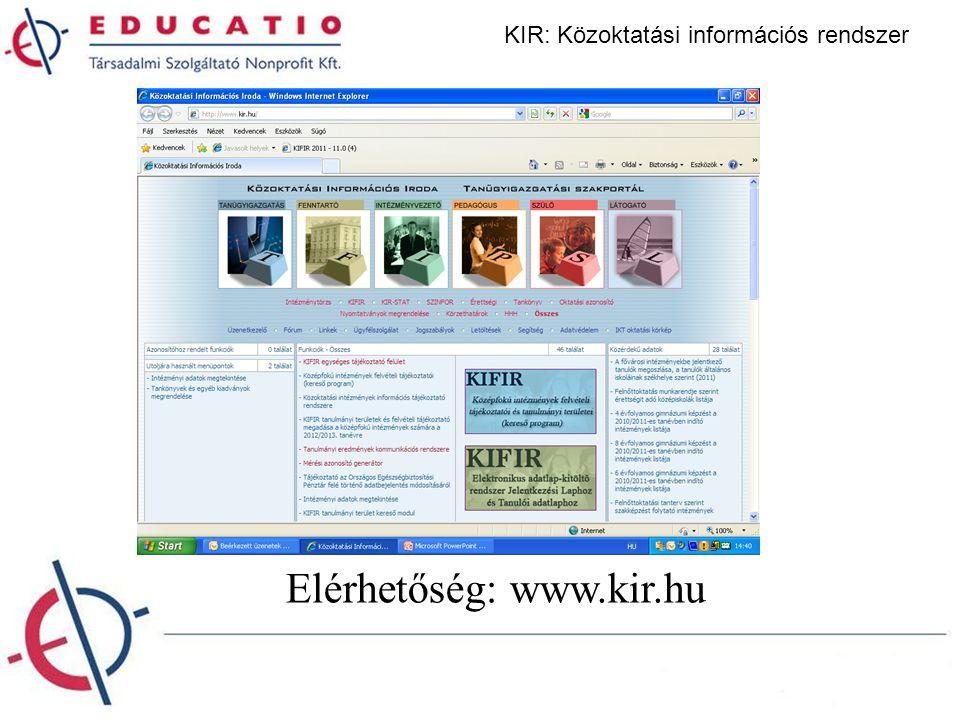KIR: Közoktatási információs rendszer Elérhetőség: www.kir.hu