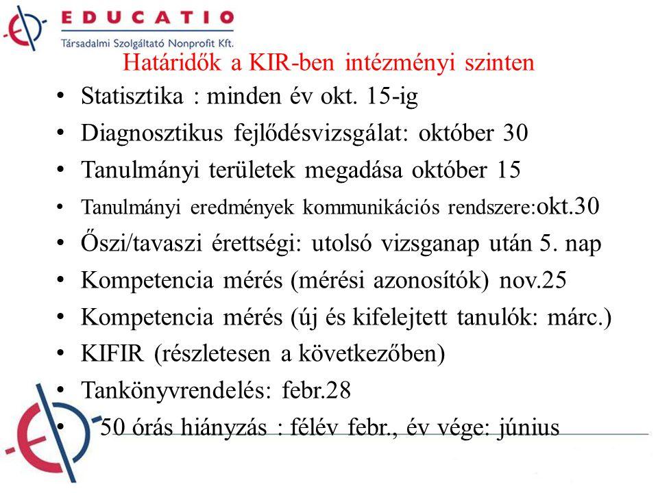 Határidők a KIR-ben intézményi szinten Statisztika : minden év okt. 15-ig Diagnosztikus fejlődésvizsgálat: október 30 Tanulmányi területek megadása ok