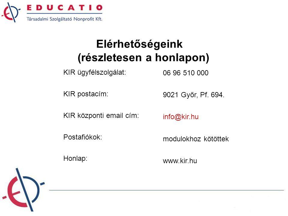 KIR ügyfélszolgálat: KIR postacím: KIR központi email cím: Postafiókok: 06 96 510 000 9021 Győr, Pf. 694. info@kir.hu modulokhoz kötöttek Honlap: www.
