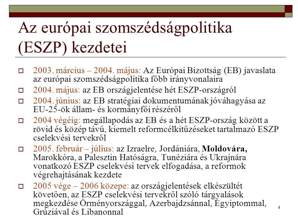 4 Az európai szomszédságpolitika (ESZP) kezdetei  2003. március – 2004. május: Az Európai Bizottság (EB) javaslata az európai szomszédságpolitika főb