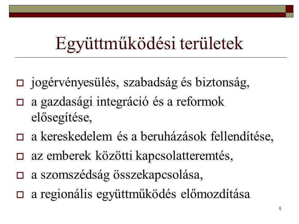 6 Együttműködési területek  jogérvényesülés, szabadság és biztonság,  a gazdasági integráció és a reformok elősegítése,  a kereskedelem és a beruházások fellendítése,  az emberek közötti kapcsolatteremtés,  a szomszédság összekapcsolása,  a regionális együttműködés előmozdítása