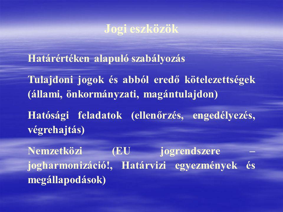 Az EU Víz Keretirányelvének (VKI) átültetése magyar jogszabályokba Az VKI előírásait tartalmazó hazai rendeletek: A Kormány 221/2004.