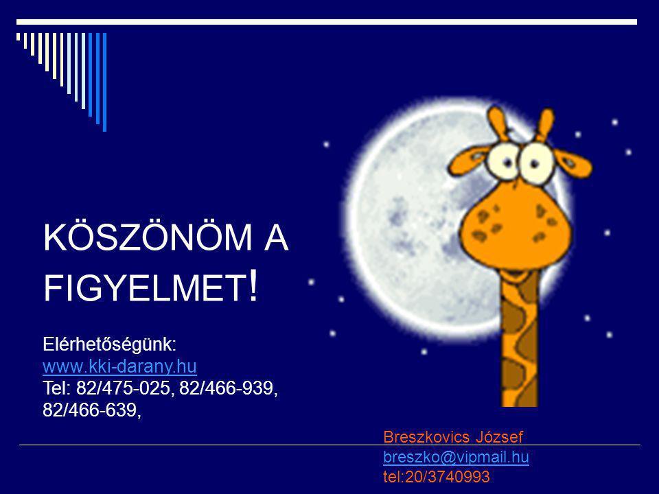 KÖSZÖNÖM A FIGYELMET ! Elérhetőségünk: www.kki-darany.hu Tel: 82/475-025, 82/466-939, 82/466-639, Breszkovics József breszko@vipmail.hu breszko@vipmai