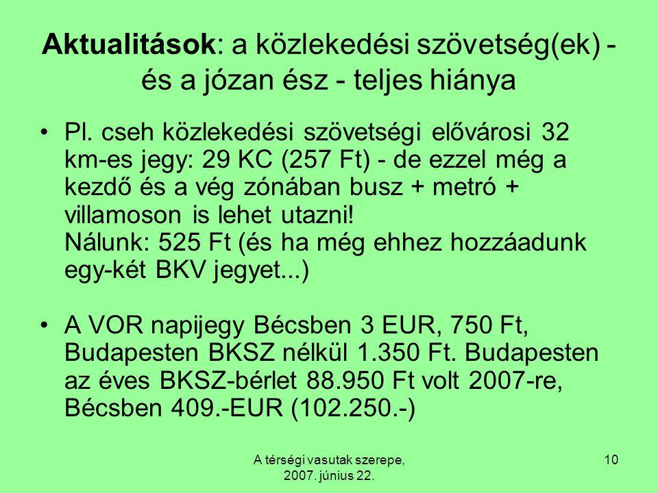A térségi vasutak szerepe, 2007. június 22. 10 Aktualitások: a közlekedési szövetség(ek) - és a józan ész - teljes hiánya Pl. cseh közlekedési szövets