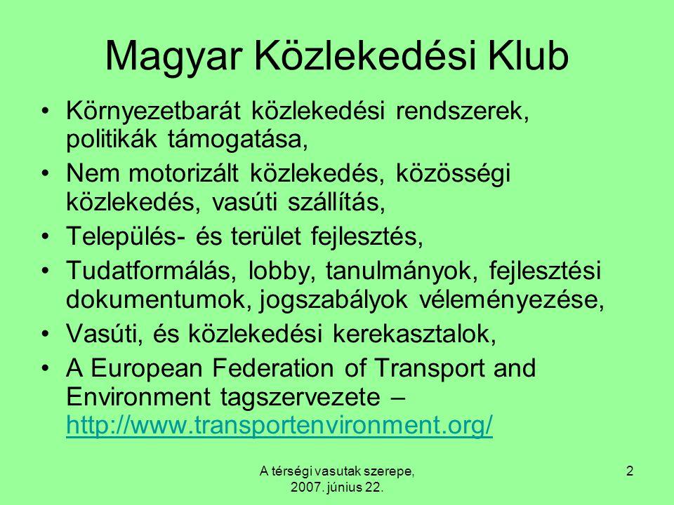 A térségi vasutak szerepe, 2007. június 22. 2 Magyar Közlekedési Klub Környezetbarát közlekedési rendszerek, politikák támogatása, Nem motorizált közl