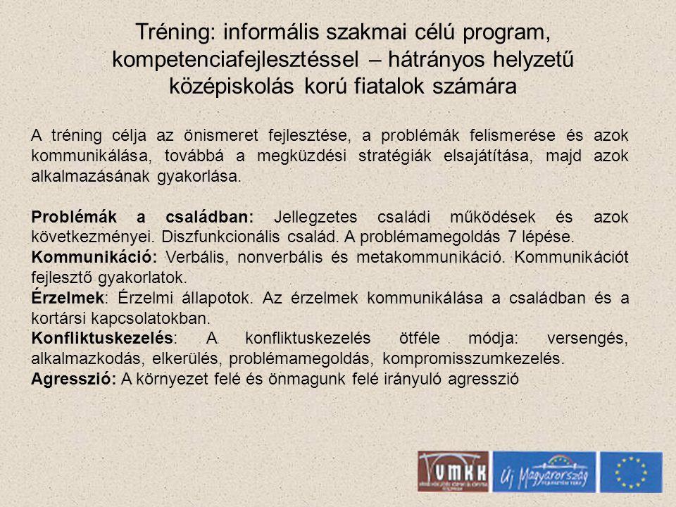 Tréning: informális szakmai célú program, kompetenciafejlesztéssel – hátrányos helyzetű középiskolás korú fiatalok számára A tréning célja az önismeret fejlesztése, a problémák felismerése és azok kommunikálása, továbbá a megküzdési stratégiák elsajátítása, majd azok alkalmazásának gyakorlása.