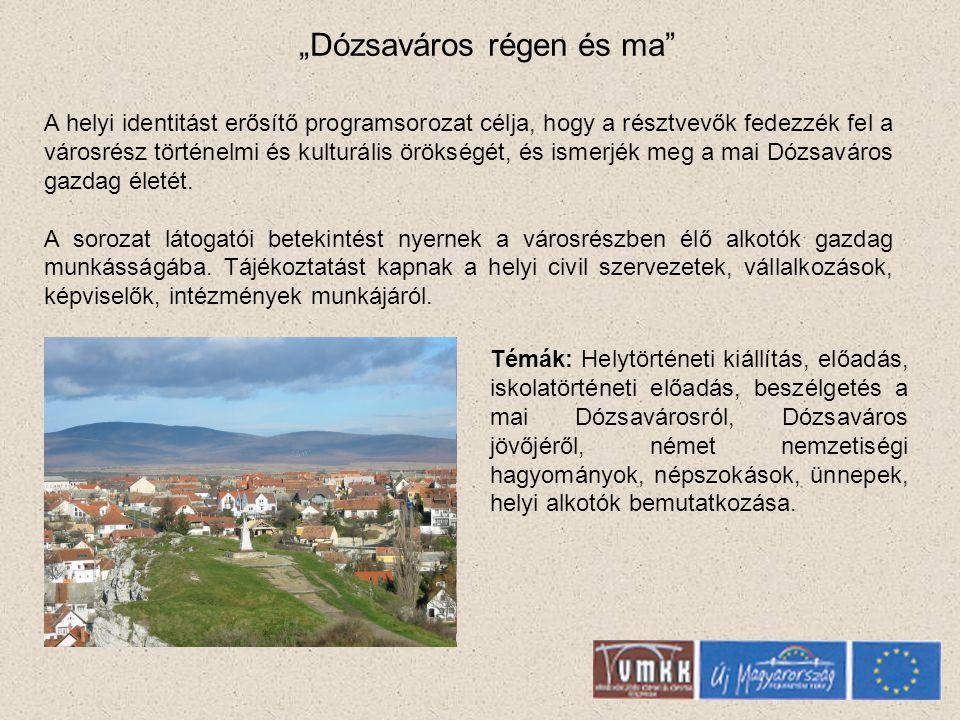 """""""Dózsaváros régen és ma A helyi identitást erősítő programsorozat célja, hogy a résztvevők fedezzék fel a városrész történelmi és kulturális örökségét, és ismerjék meg a mai Dózsaváros gazdag életét."""