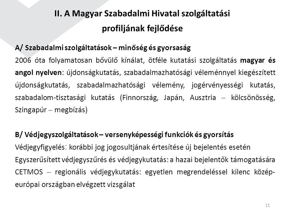 II. A Magyar Szabadalmi Hivatal szolgáltatási profiljának fejlődése A/ Szabadalmi szolgáltatások – minőség és gyorsaság 2006 óta folyamatosan bővülő k