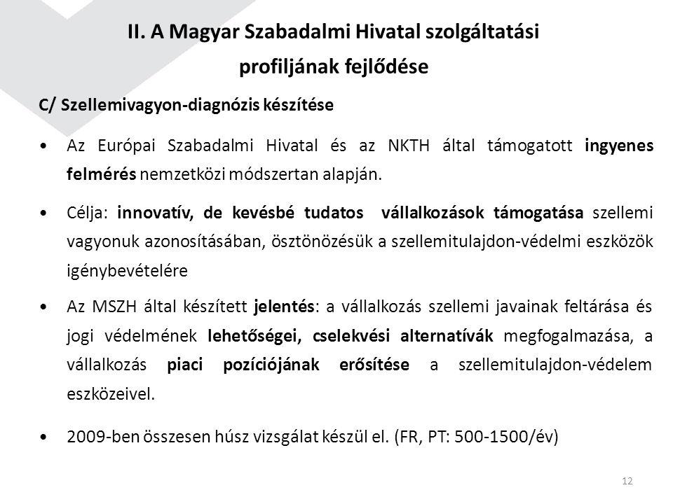 C/ Szellemivagyon-diagnózis készítése Az Európai Szabadalmi Hivatal és az NKTH által támogatott ingyenes felmérés nemzetközi módszertan alapján. Célja